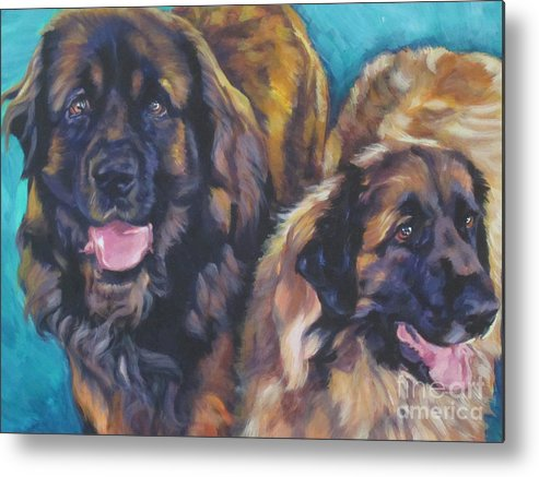 Leonberger Metal Print featuring the painting Leonberger Pair by Lee Ann Shepard