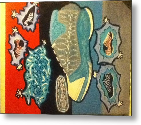 Sneaker Metal Print featuring the painting Respect 23 by Mj Museum