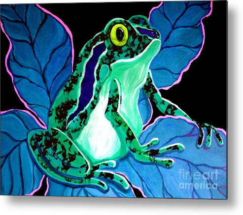 Frog Metal Print featuring the painting Speckled Frog by Nick Gustafson