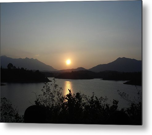 Water Metal Print featuring the photograph Sunset by Swapna Rajeev