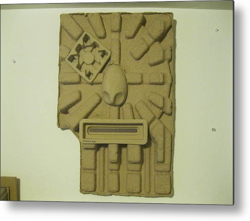 Original Sculpture Face From Plastic Found Objects Metal Print featuring the sculpture The Aztec by Richard Kane