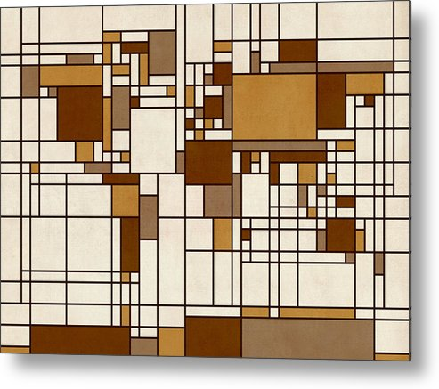 Cartography Metal Print featuring the digital art World Map Abstract Mondrian Style by Michael Tompsett