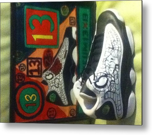 13 Metal Print featuring the drawing 13 by Mj Museum