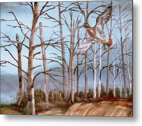 Birds Trees River Lake Landscape Painting Metal Print featuring the painting Birds Landing by Kenneth LePoidevin