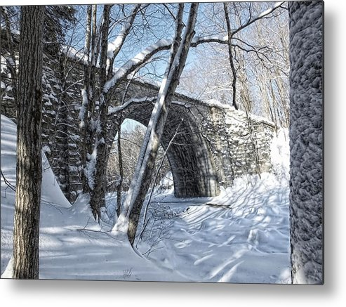 Winter Metal Print featuring the photograph Cheshire Railroad Bridge by Shaundi Kane
