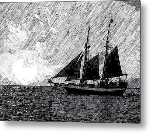 Black And White Metal Print featuring the drawing Sailing At Sunset by Kathleen Odenthal