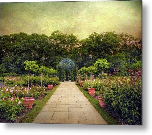 Botanical Garden Metal Print featuring the photograph Rose Garden Gazebo by Jessica Jenney