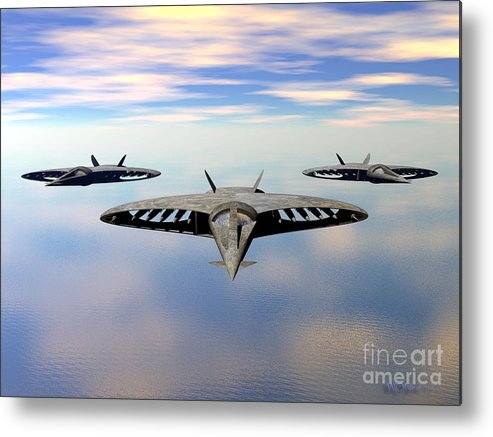 Science Fiction Metal Print featuring the digital art 3 Viper F-32s by Walter Oliver Neal