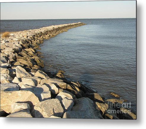 Schuminweb Metal Print featuring the photograph Rock Jetty At Sandy Point by Ben Schumin