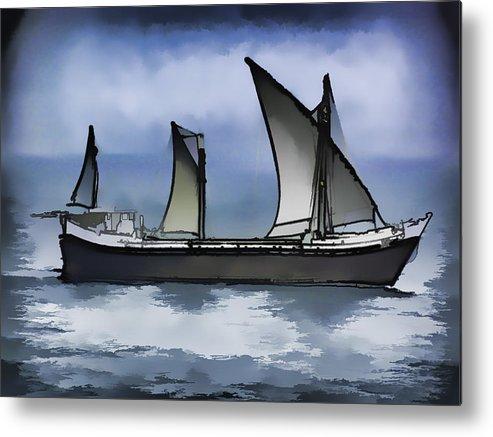 Action Metal Print featuring the digital art Fishing Vessel In The Arabian Sea by Ashish Agarwal