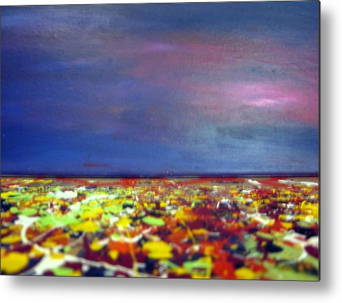 Art Metal Print featuring the painting Modern Abstract Painting Original Canvas Art Sunset By Zee Clark by Zee Clark
