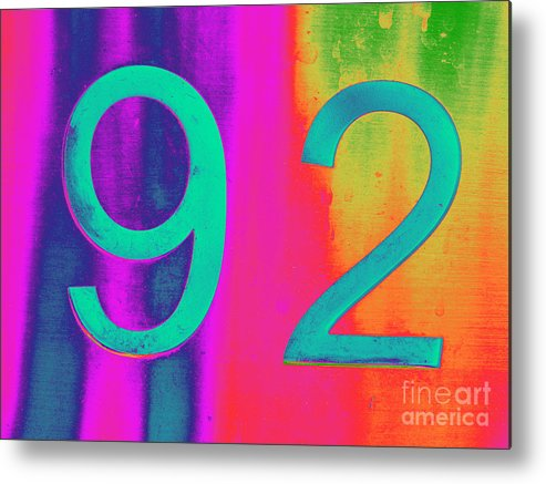 Number Metal Print featuring the digital art 92 by Amber Nissen