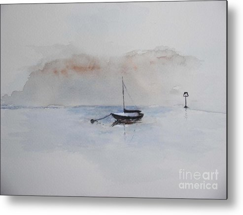 Boat Metal Print featuring the painting A Blue Mooring by Sibby S