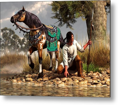 Metal Print featuring the digital art A Hunter And His Horse by Daniel Eskridge