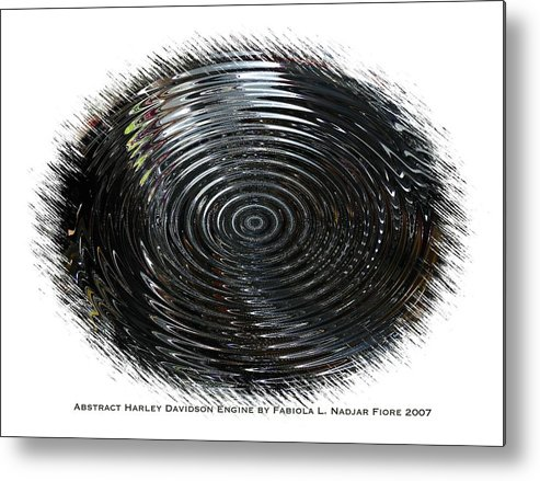 Abstract Metal Print featuring the mixed media Abstract Harley Davidson Engine by Fabiola L Nadjar Fiore