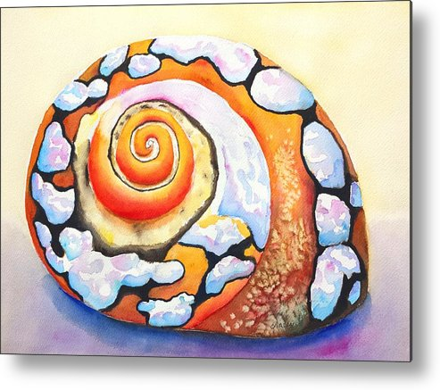 Shell Metal Print featuring the painting African Turbo Shell by Carlin Blahnik CarlinArtWatercolor