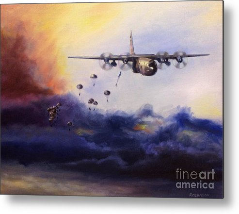C-130 Metal Print featuring the painting Airborne Jump by Stephen Roberson