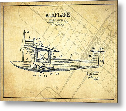 Airplane Metal Print featuring the digital art Airplane Patent Drawing From 1921-vintage by Aged Pixel