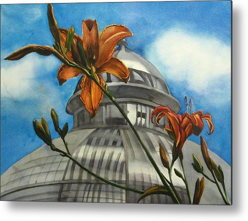 Flower Metal Print featuring the painting Allan Garden With Daylilies by Alfred Ng