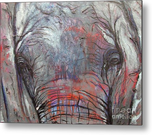 Elephant Metal Print featuring the painting Alone by Aimee Vance