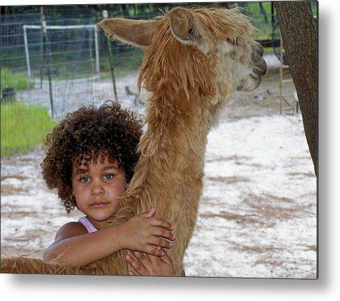 Animal Metal Print featuring the photograph Alpaca Love by Judy Wanamaker