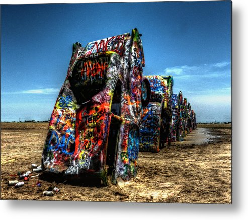 Amarillo Texas Metal Print featuring the photograph Amarillo - Cadillac Ranch 004 by Lance Vaughn