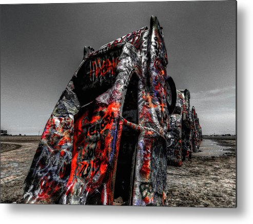 Amarillo Texas Metal Print featuring the photograph Amarillo - Cadillac Ranch 005 by Lance Vaughn