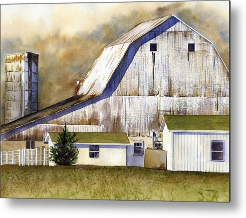Barn Metal Print featuring the painting Amish Barn by Patti Bishop