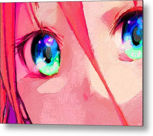 Comics Metal Print featuring the painting Anime Girl Eyes Red by Tony Rubino