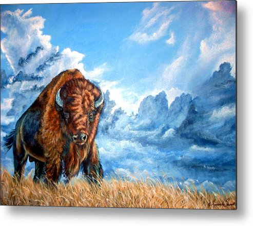 Buffalo Metal Print featuring the painting Approaching Storm by Amanda Hukill
