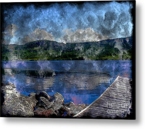 At The Lake Metal Print featuring the photograph At The Lake - Fishing - Steel Engraving by Barbara Griffin
