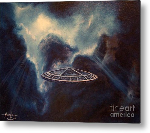 Si-fi Metal Print featuring the painting Atmospheric Arrival by Murphy Elliott