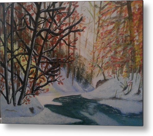 Landscape Metal Print featuring the painting Autumn Snow by Stephanie Wood