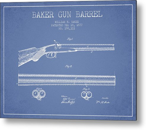 Pistol Patent Metal Print featuring the digital art Baker Gun Barrel Patent Drawing From 1877- Light Blue by Aged Pixel