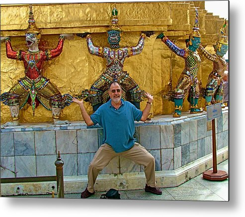 Base Of The Golden Chedis At Grand Palace Of Thailand In Bangkok Metal Print featuring the photograph Base Of The Golden Chedis At Grand Palace In Bangkok-thailand by Ruth Hager