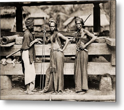 Batak Metal Print featuring the photograph Batak Warriors In Indonesia 1870 by Mountain Dreams