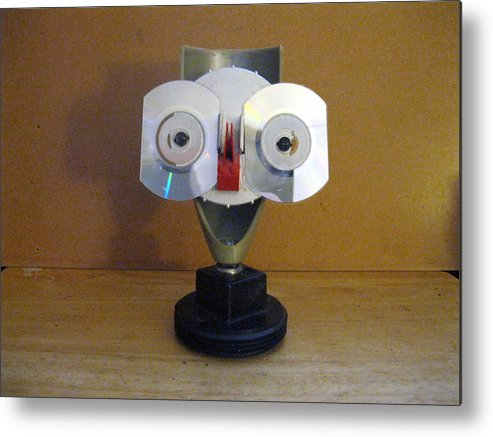 Original Sculpture Face From Plastic Found Objects Metal Print featuring the sculpture Batboy by Richard Kane