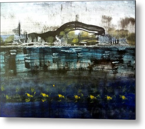 Acrylic Metal Print featuring the painting Bay Blues 006 by Aquira Kusume