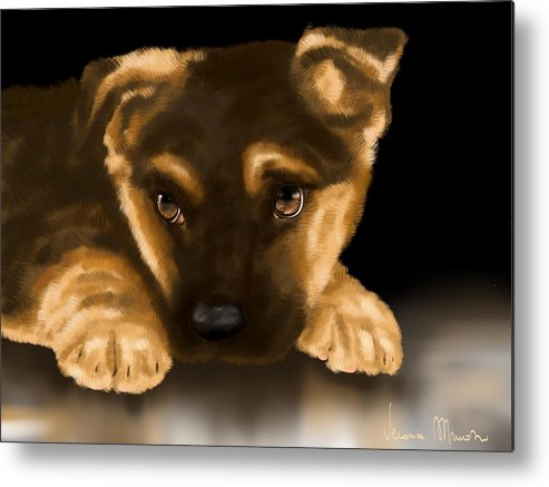 Digital Metal Print featuring the painting Beautiful Puppy by Veronica Minozzi