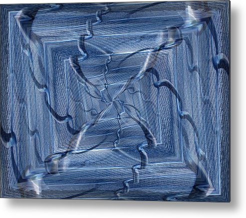 Abstract Metal Print featuring the digital art Beyond The Barrier Blues by Tim Allen