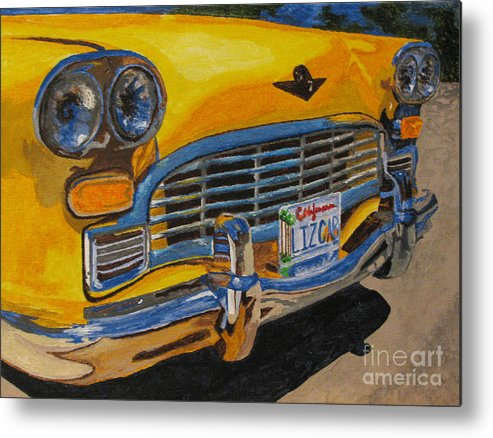 Car Metal Print featuring the painting Big Yellow Taxi by Nancie Johnson
