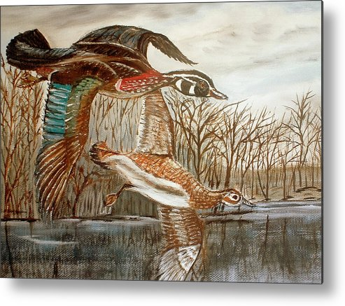 Birds Landing Water Landscape Metal Print featuring the painting Birds Landing by Kenneth LePoidevin