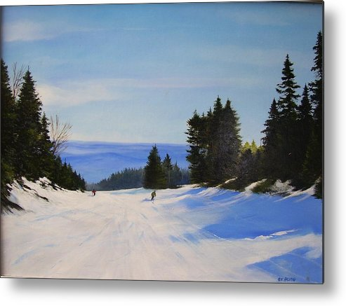 Ski Metal Print featuring the painting Black And Blue by Ken Ahlering