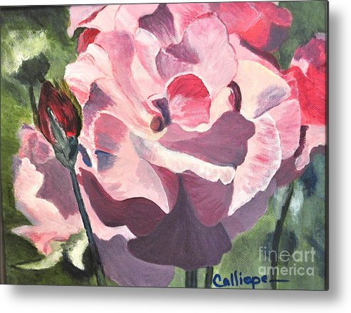 Floral Metal Print featuring the painting Bloomed Rose by Calliope Thomas