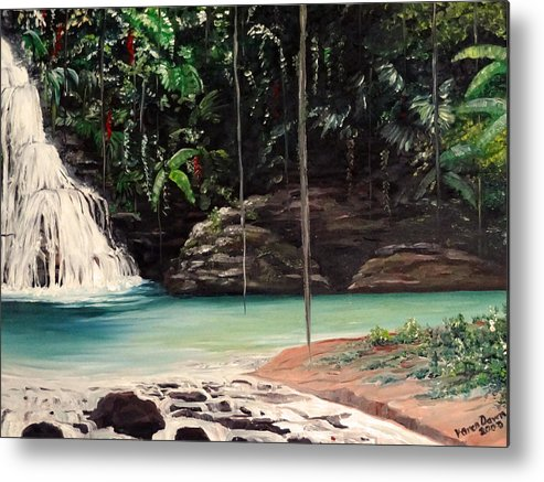 Tropical Waterfall Metal Print featuring the painting Blue Basin by Karin Dawn Kelshall- Best
