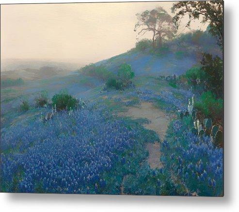 San Antonio Metal Print featuring the painting Blue Bonnet Field In San Antonio by Mountain Dreams