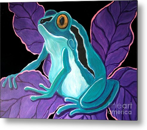 Frog Art Metal Print featuring the painting Blue Frog Purple Flower by Nick Gustafson