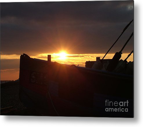 Boat Metal Print featuring the photograph Boat At Sunset by Mark Bowden