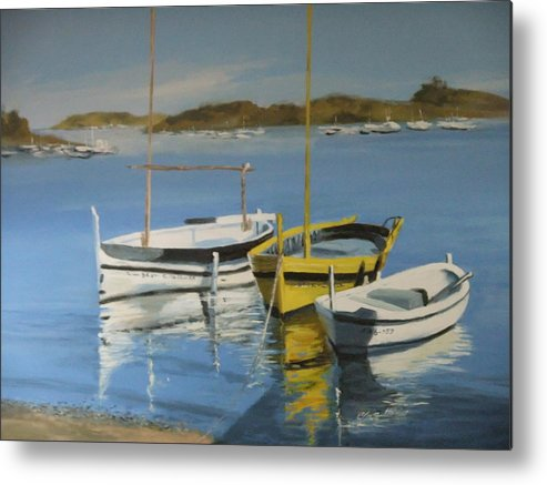 Boats Outside Salvador Dali's House Metal Print featuring the painting boats of Cadaques by Clive Holden
