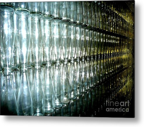 Glass Metal Print featuring the photograph Bottle Wall by Sara Graham